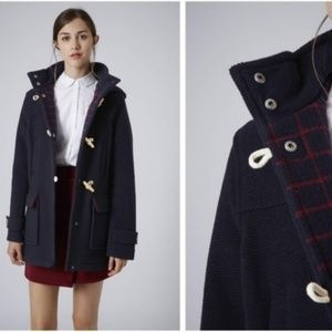 Topshop Hooded Wool Toggle Coat